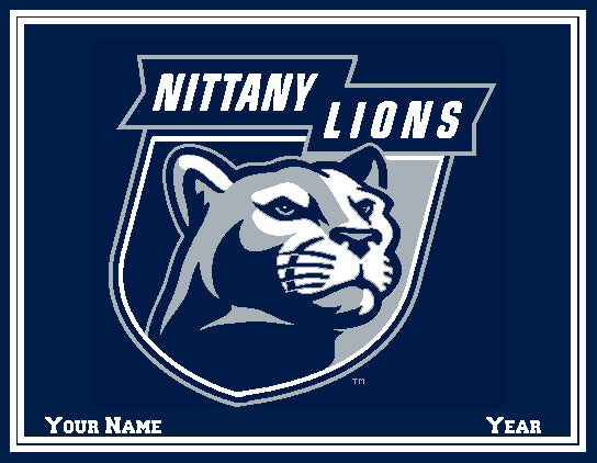 Penn State Nittany Lion  60 x 50 Customized with Name and Year