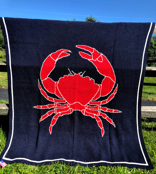 RED Crab on Navy Blanket 50 x 60