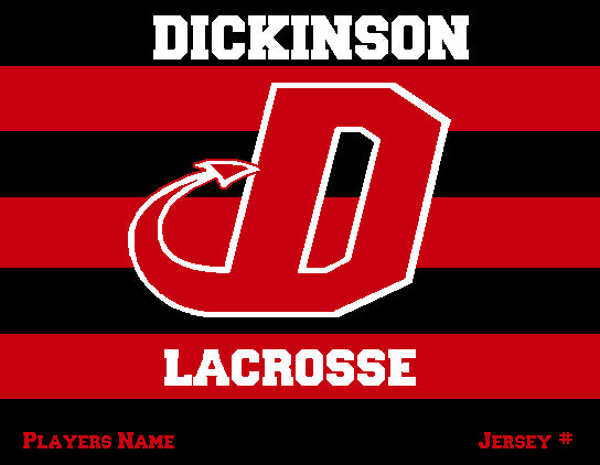 Dickinson Striped Lacrosse Customized Name & Number 60 x 50