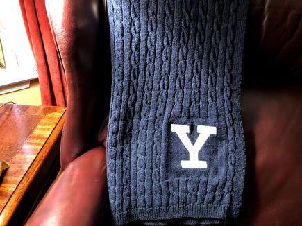 YALE Navy  Cable Blanket