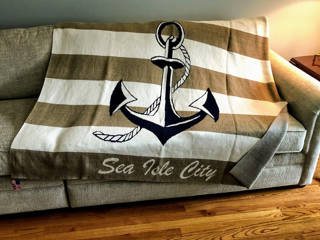 Striped Anchor Beach Blanket Customized with your Town OR Family name (Khaki and Natural)
