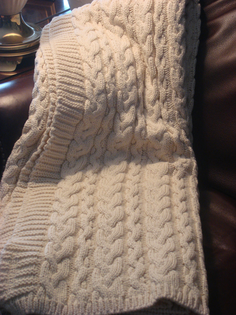Chunky Cable Blanket - Natural Cotton