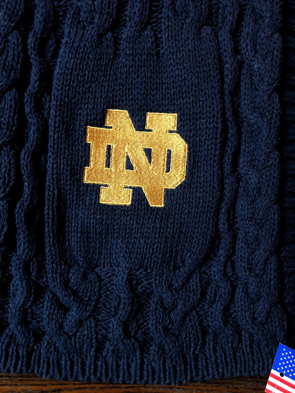 Notre Dame Navy Recycled Cotton Super Chunky Cable Blanket 50 x 60