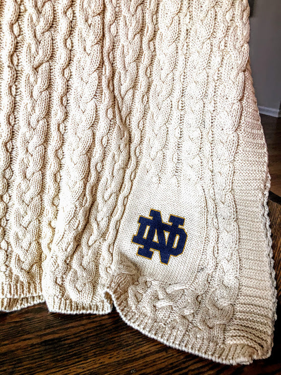 Notre Dame Natural Cotton Super Chunky Cable Blanket 50 x 60
