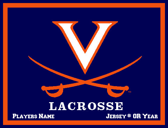Custom University of Virginia Lacrosse  Navy Base Name & Number OR Year 60 x 50