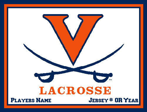 Custom University of Virginia Lacrosse Natural Base  Name & Number OR Year 60 x 50