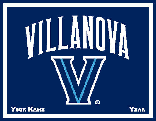 Villanova Navy Signature Logo Dorm, Home, Office, Alumni, Tailgate blanket Customized with Name and Year