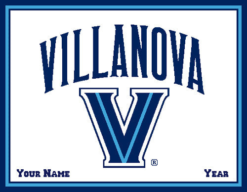 "Villanova Curved Logo 60"" x 50"" Natural  Name & Year"