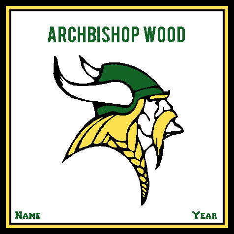 Archbishop Wood Athletic Logo Natural Base Customized with your Name and Year