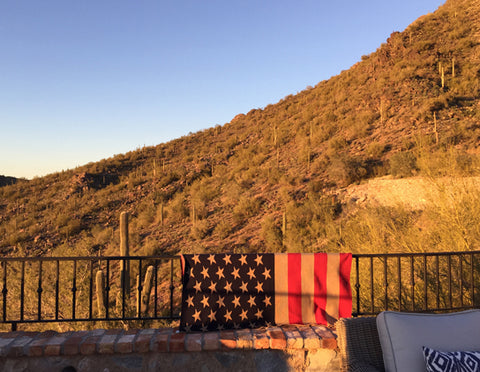 Vintage American Flag Blanket CUSTOMIZED with your TOWN 60 x 50