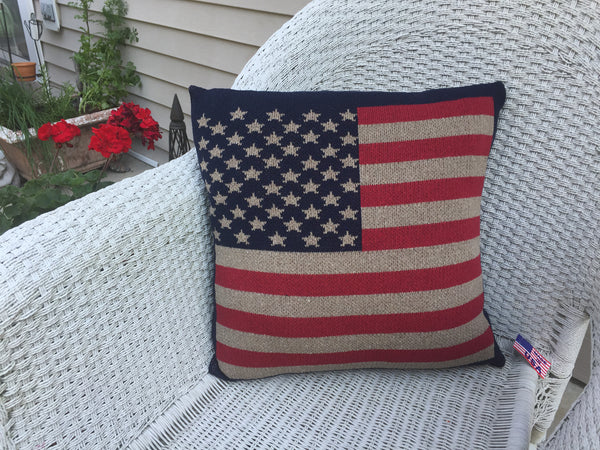 Vintage American Flag Pillow 20 x 20