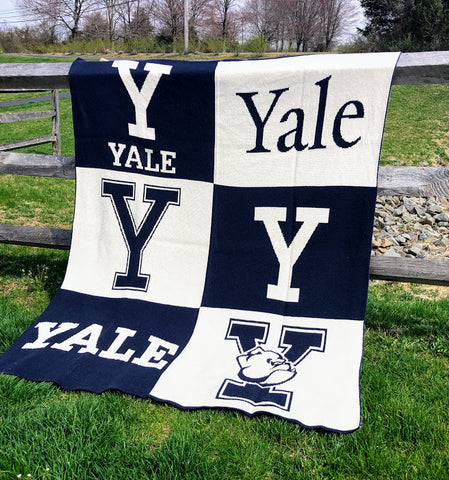 NEW  YALE Multi Logo Dorm, Office, Alumni, Tailgate Blanket