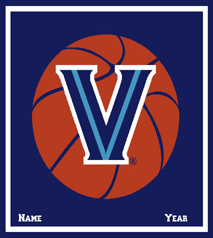 Villanova Basketball Navy Dorm, Graduation, Office , Home Blanket Customized with Name and Year