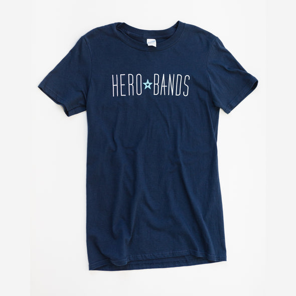 navy t-shirt with hero bands logo