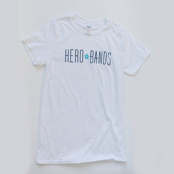 white t-shirt with hero bands logo
