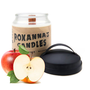 Macintosh Apple Wooden Wick Soy Candle 16oz Glass Jar