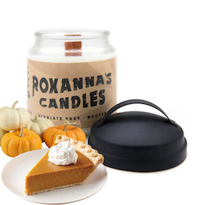 Pumpkin Pie Wooden Wick Soy Candle 16oz Glass Jar