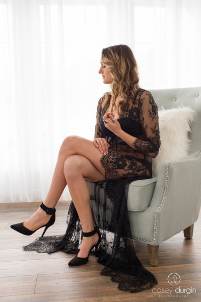 """ERIN"" LACE ROBE IN BLACK"