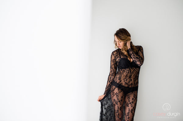 """SARAH"" LACE DRESS IN BLACK"