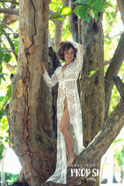 """ERIN"" LACE ROBE IN OFF WHITE"