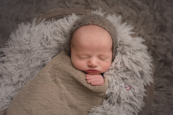 CHARCOAL GRAY MOHAIR BABY BONNET