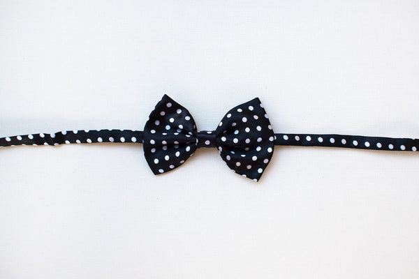 Black with White Polka Dots Bow Tie