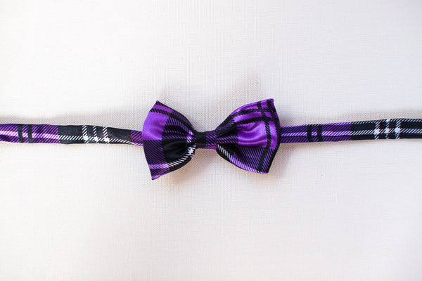 Purple & Black Plaid Bow Tie