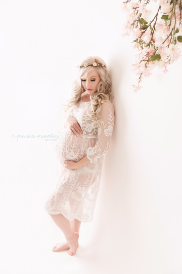 """MELISSA"" MATERNITY DRESS IN WHITE"