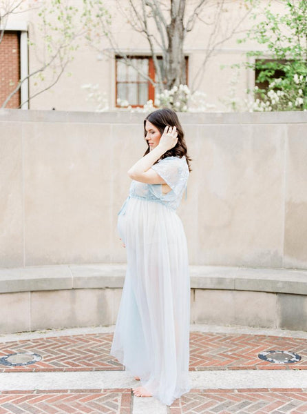 BABY BLUE MATERNITY ROBE