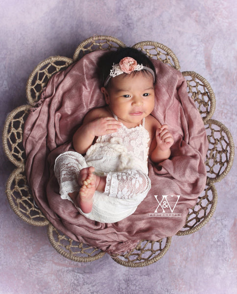 ROMPER / BONNET  : off white lace fabric, lace, newborn bonnet, newborn romper, baby bonnet, newborn photography, photo prop, NB baby gift