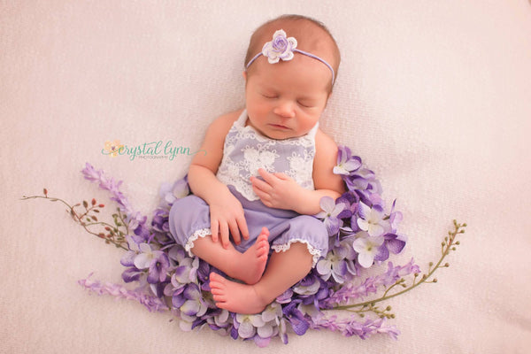 BABY ROMPER SET: newborn lavender knit romper, baby stretch romper, headband, photo prop, handmade, photography, for photo shoot, purple