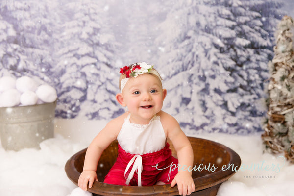 CHRISTMAS ROMPER / BONNET / headband, halo: 6M, 12M Christmas sitter set, red ruffle romper, bonnet, romper, baby photography prop, baby set