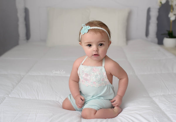 BABY ROMPER / SITTER Set: 6M, 12M baby romper, toddler photo prop, mint, embroidered trim, cake smash handmade photo prop, baby photography