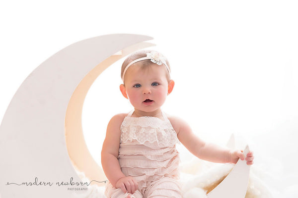 HANDMADE ROMPER / HEADBAND Sitter set, 6 month, 12 month, cream, light pink ruffled fabric, embroidered cotton lace trim, baby photography