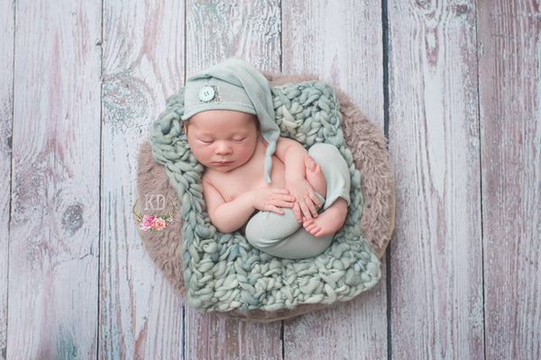 NEWBORN  PANT SET, baby photo prop, nb lt. aqua pant, stretch knit, button, baby elf hat, baby boy pants, newborn baby photo prop, handmade