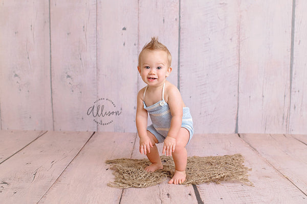 RTS ROMPER / SITTER for photo shoot, baby romper, blue ivory striped, 6 month, 12 month sitter, baby clothing photography prop, cake smash