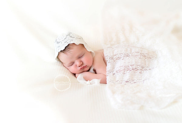 LACE BABY BONNET, vintage lace, ivory, newborn, stretch lace, handmade, newborn baby photo prop,  photography prop, baby