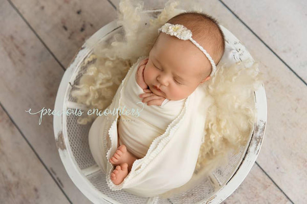 "NEWBORN BABY WRAP: ruffle lace trimmed baby wrap 14"" x 52"",cream stretch knit, yarn tieback, baby photography prop, newborn baby gift, prop"