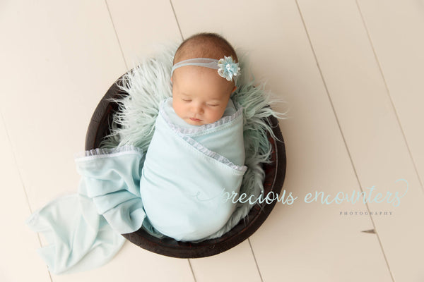 "NEWBORN BABY WRAP: ruffle lace trimmed baby wrap 14"" x 52"", lt. blue stretch knit, tieback, baby photography prop, nb baby gift, photo shoot"