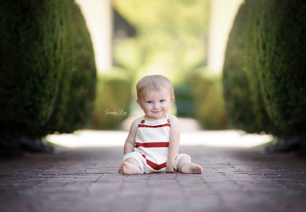 BABY ROMPER: 6M, 12M, stretch knit romper, baby romper, cake smash, baby photo prop, cream, rust,  handmade, photography prop, toddler photo