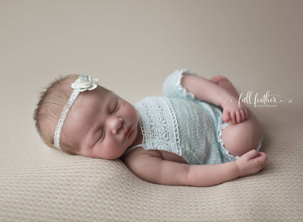 NEWBORN ROMPER, baby photo prop, stretch knit, headband, baby shower gift, aqua nb baby romper, baby photography prop, handmade, baby photos