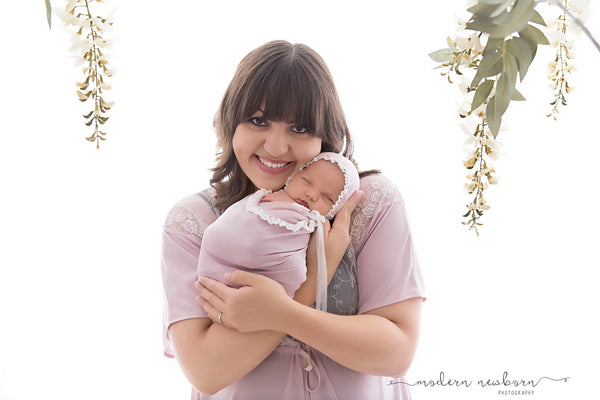 "NEWBORN BABY WRAP: lace, baby wrap 14"" x 52"" light mauve stretch knit, baby bonnet for photo shoot, baby photography, newborn baby gift"
