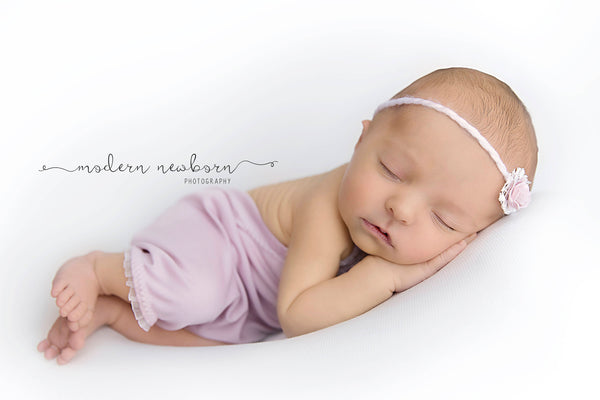 BABY ROMPER SET: light mauve knit romper, newborn, baby stretch romper, tieback, baby photo prop, handmade photography prop for baby photos