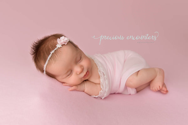 "NEWBORN BABY WRAP: ruffle lace, baby wrap 14"" x 52"" light pink stretch knit, yarn tieback, baby photography prop, newborn baby gift, prop"