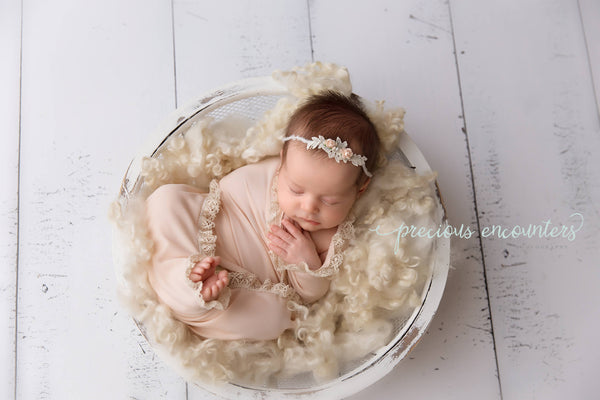 "NEWBORN BABY WRAP: ruffle lace, baby wrap 14"" x 52"" light peach stretch knit, yarn tieback, baby photography prop, newborn baby gift, prop"