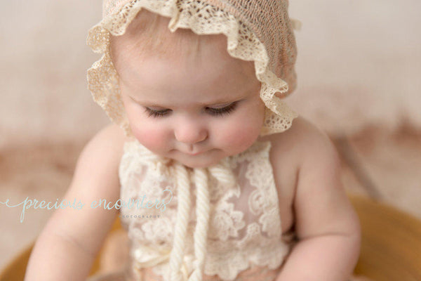 BABY ROMPER / HALO / bonnet: 6 month sitter set, 12 month, peach sweater knit romper, cotton lace trim, floral crown, photography prop
