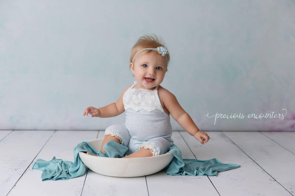 6 - 12M ROMPER / HEADBAND: 6 M sitter set, 12 month sitter, blue knit, lace, ready to ship, cake smash, for photo shoot, photography prop