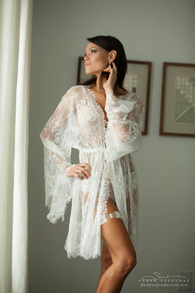 BRIDAL BOUDOIR ROBE: short wedding day robe for photo shoot, lingerie, off white lace, one-size, sheer, bell sleeve, bridal shower gift