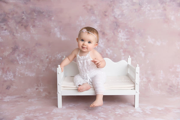 HANDMADE ROMPER / HEADBAND Sitter set - size 6 month - 12 month - white ruffled fabric - cake smash photo shoot - baby photography prop gift