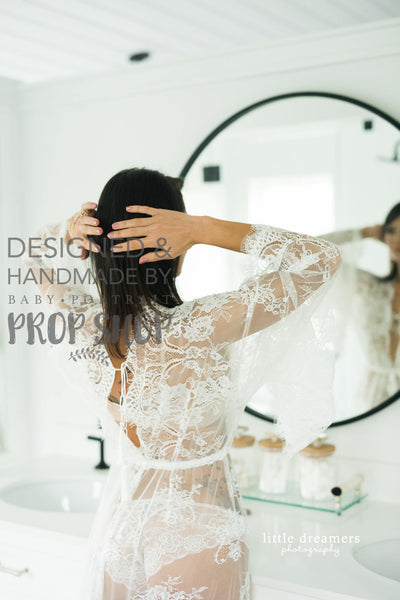 BRIDAL BOUDOIR ROBE: floor length, wedding day gown for photo shoot, lingerie, off white lace, one-size, bridal shower gift, bell sleeve